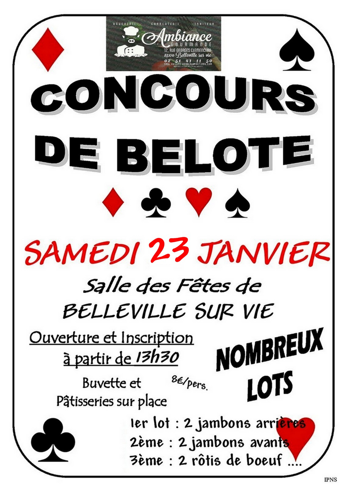 Affiche du Concours de belote le 23 janvier 2016 à Belleville Sur Vie - 85