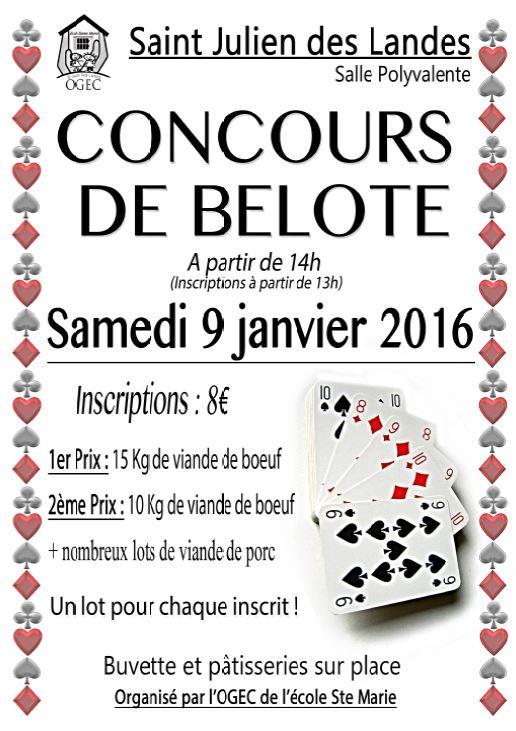 Concours de belote le 9 janvier 2016 à Saint Julien des Landes