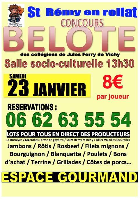 concours de belote 23 janvier 2016 saint r my en rollat 03. Black Bedroom Furniture Sets. Home Design Ideas