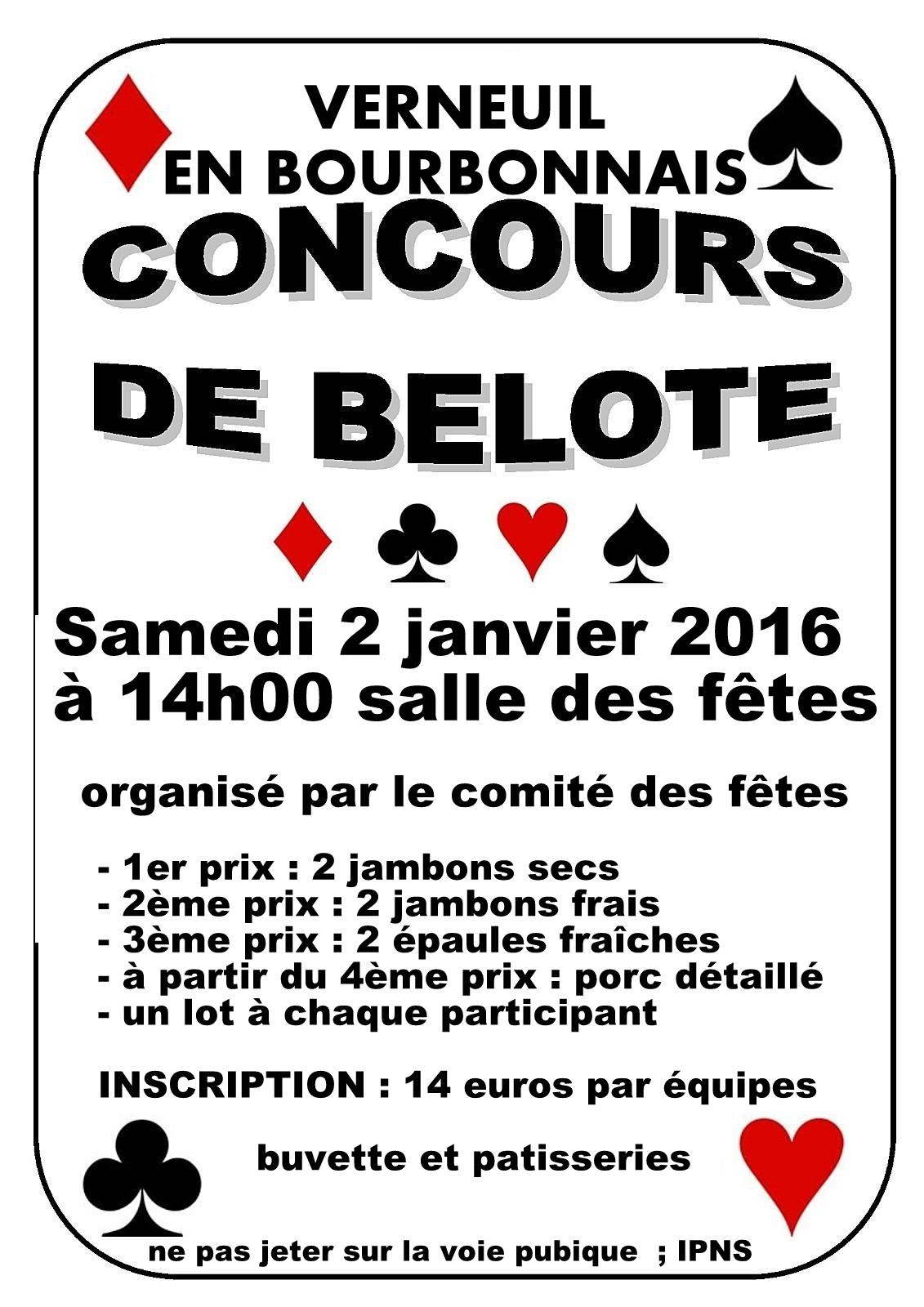 concours de belote le samedi 2 janvier 2016 à verneuil en bourbonnais