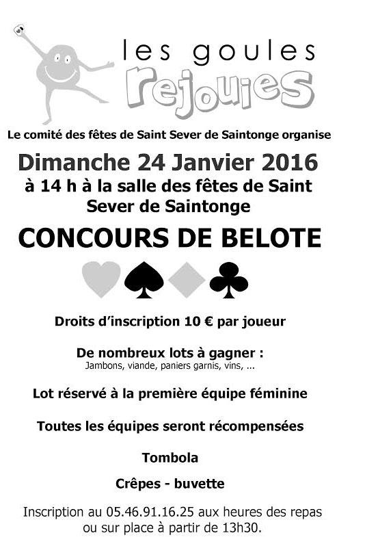 concours de belote 24 janvier 2016 à Saint Sever de Saintonge 17800