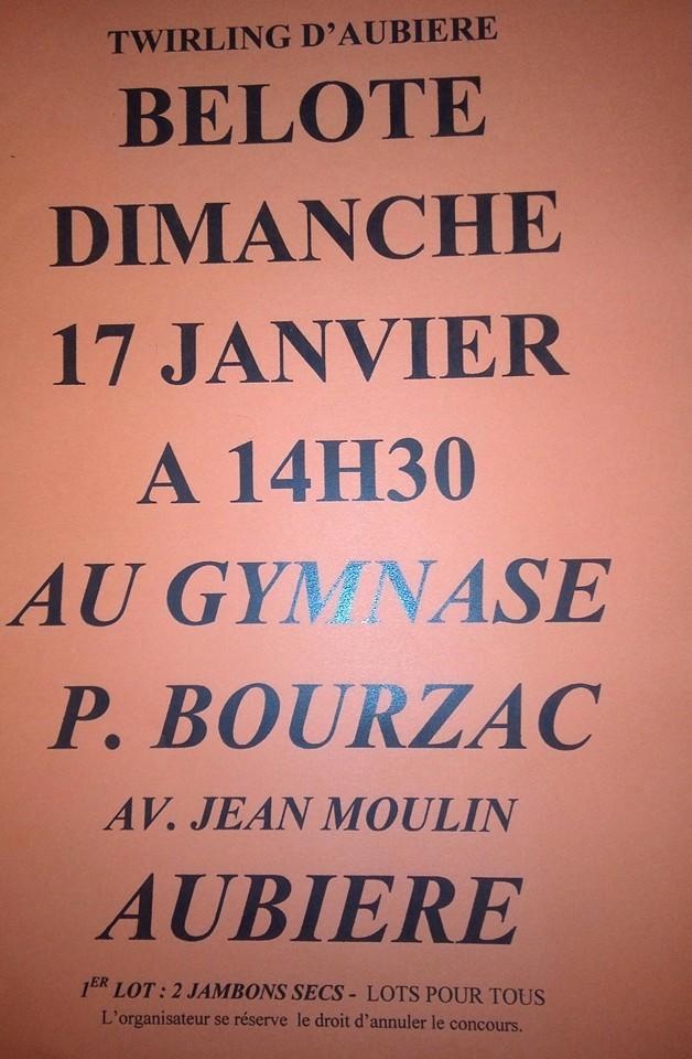 Affiche du Concours de belote organisé dimanche 17 janvier 2016 à Aubière - 63