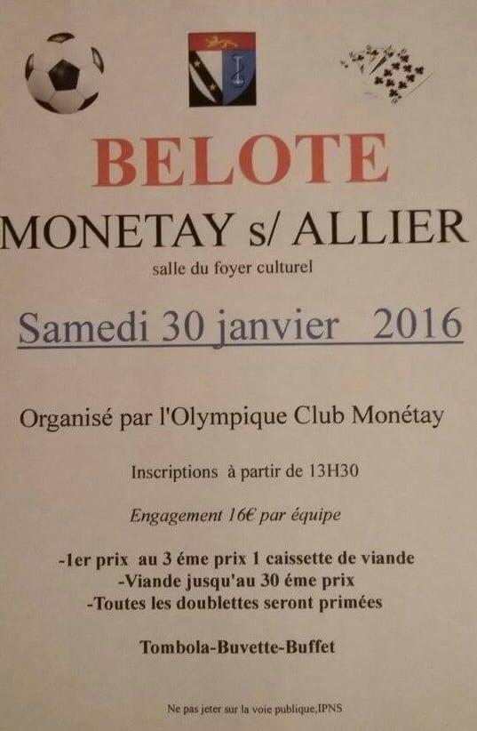 Concours de belote le samedi 30 Janvier 2016 à Monétay sur Allier