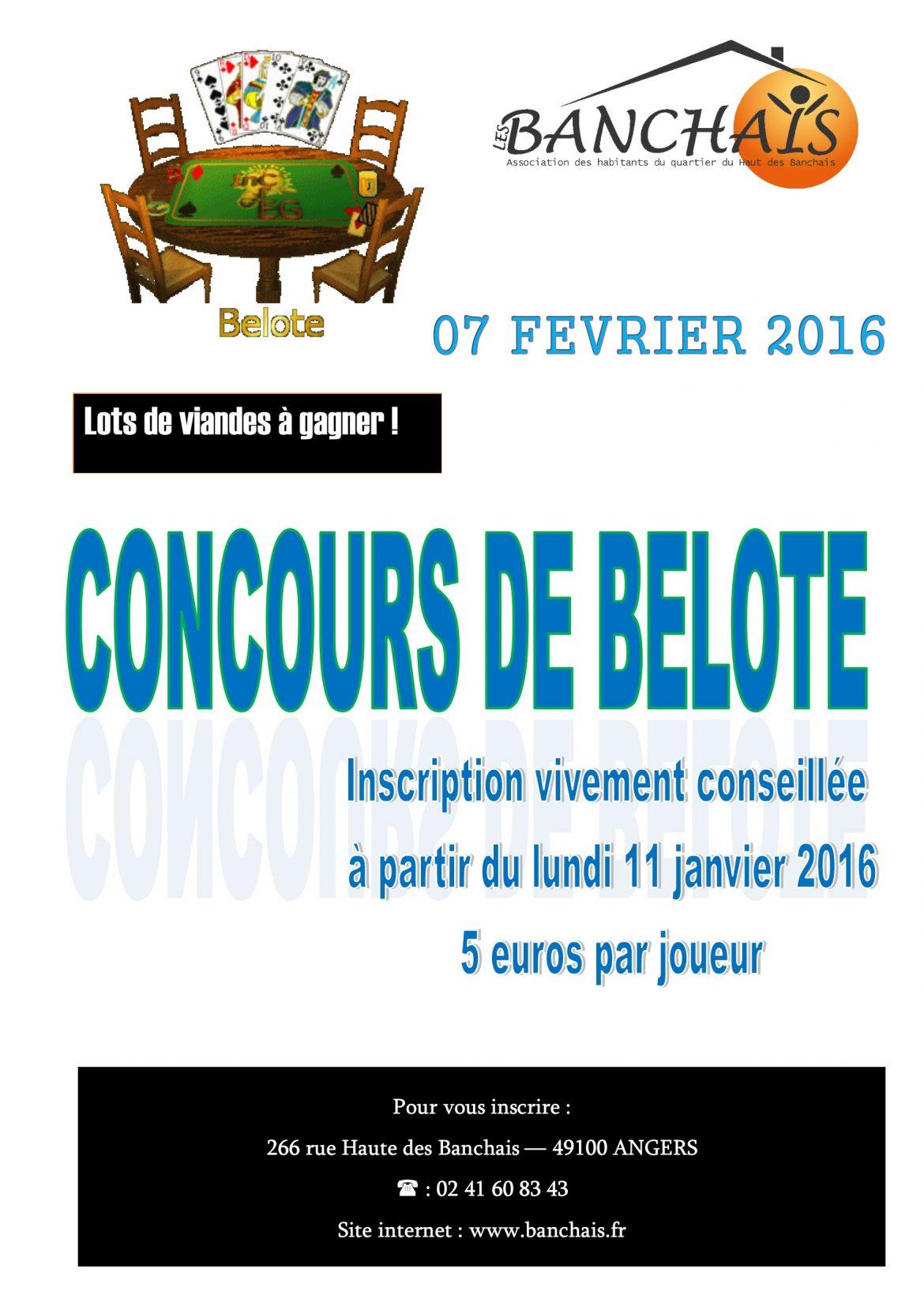 Affiche du Concours de belote 07 février 2016 à ANGERS
