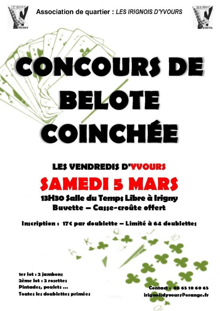 Affiche Concours de belote le 5 mars 2016 à Irigny - Rhône
