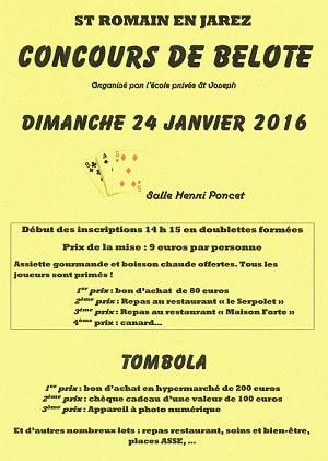 Concours de belote le 24 janvier 2016 à St Romain en Jarez (42)