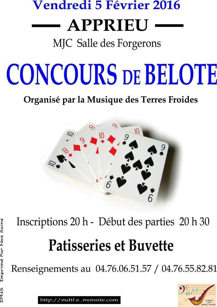 Affiche concours de belote organisé vendredi 5 février 2016 à Apprieu