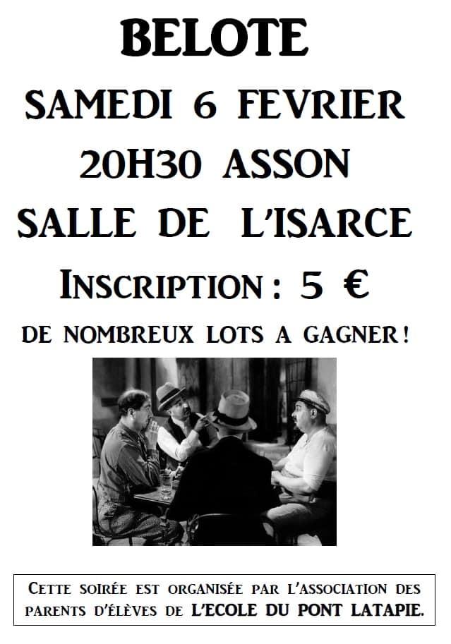 Affiche de la Soirée belote samedi 6 février 2016 à Asson - Pyrénées Atlantiques