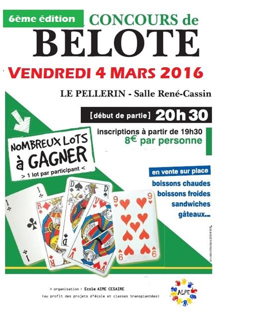 Concours de belote le 4 mars 2016 au Pellerin – Loire Atlantique