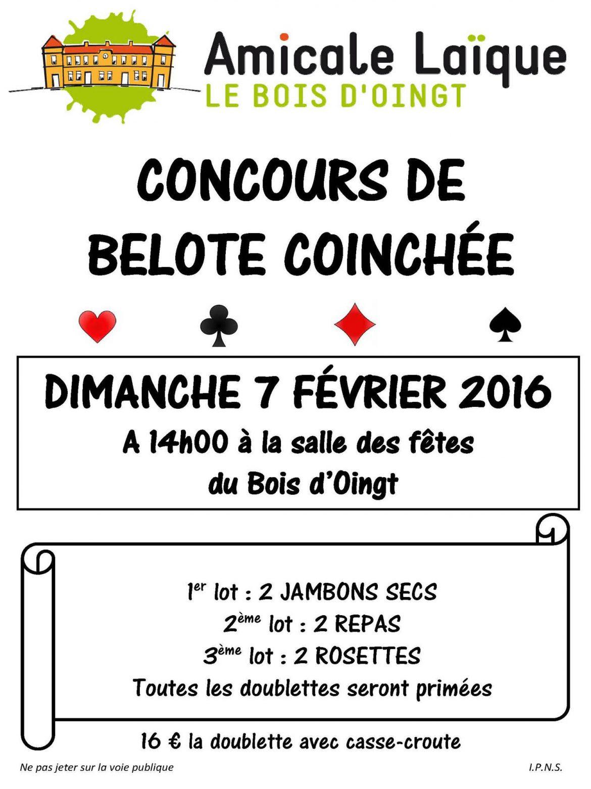 Concours de belote coinchée le 7 février 2016 au Bois d'Oingt