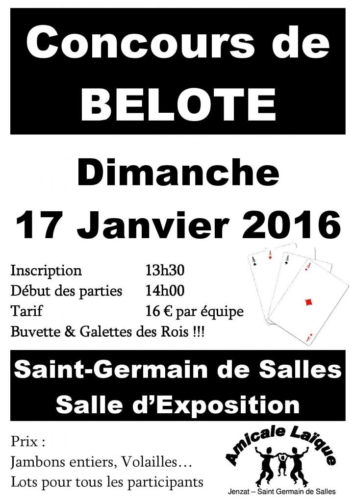 Affiche Concours de belote 17 Janvier 2016 à St Germain de Salles - Allier