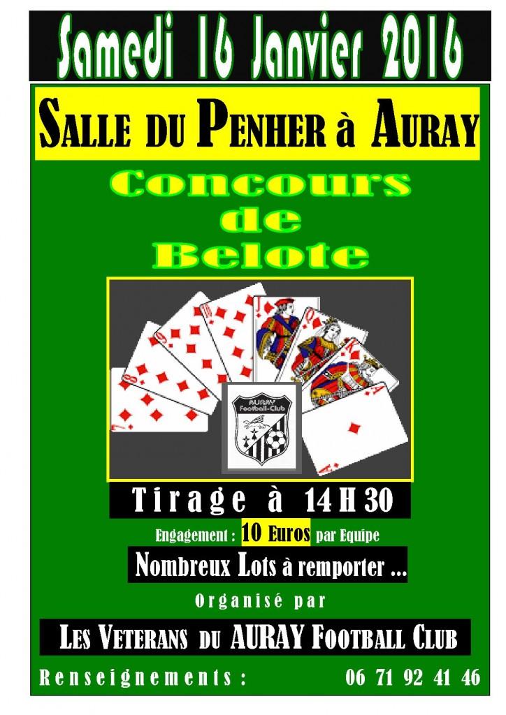 Concours de belote organisé par la section Vétérans du Auray Football Club samedi 16 janvier 2016 dans la Salle du Penher à Auray, dans le Morbihan (56)