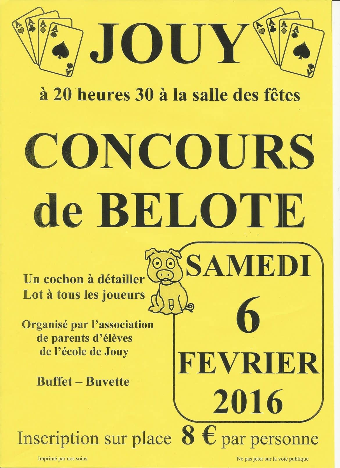 Affiche du Concours de belote samedi 6 février 2016 à Jouy dans l'Yonne (89)