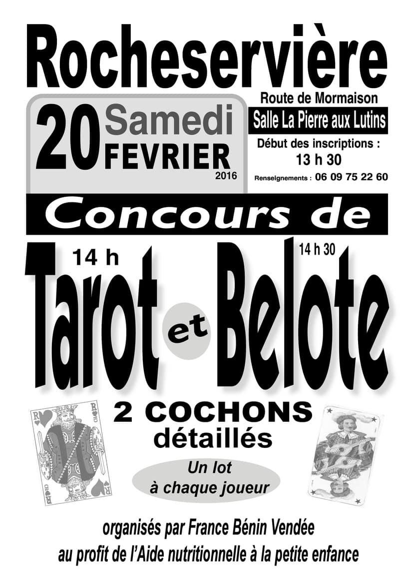Affiche des tournois de Belote et de Tarot organisés Samedi 20 février 2016 à Rocheservière