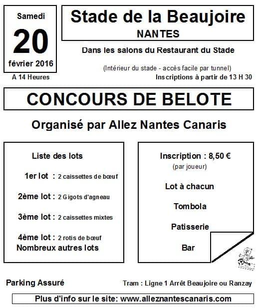 Affiche du Concours de belote 20 février 2016 à Nantes - Loire Atlantique