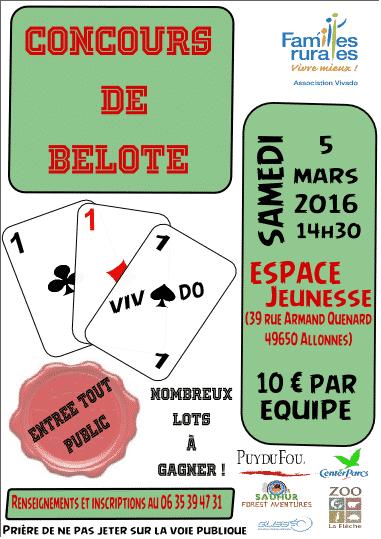 Affiche du Concours de belote le 05 mars 2016 à Allonnes (49)