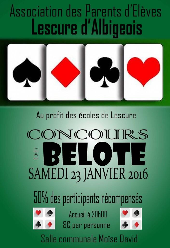Affiche du concours de belote organisé le 23 janvier 2016 à Lescure d'Albigeois (81)