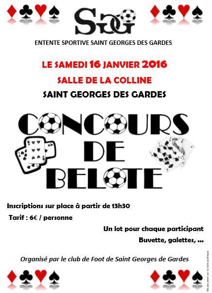 Concours de Belote le 16 Janvier 2016 à Saint Georges des Gardes