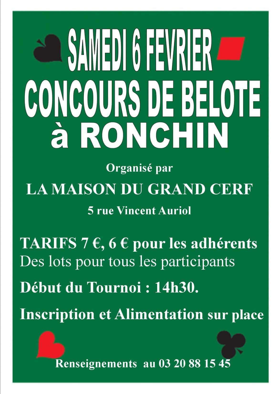 affiche  du concours de belote organisé à Ronchin le 6 février 2016