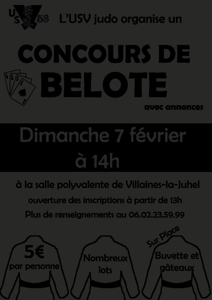 affiche du Concours de belote le 7 février 2016 à Villaines-la-Juhel (53)