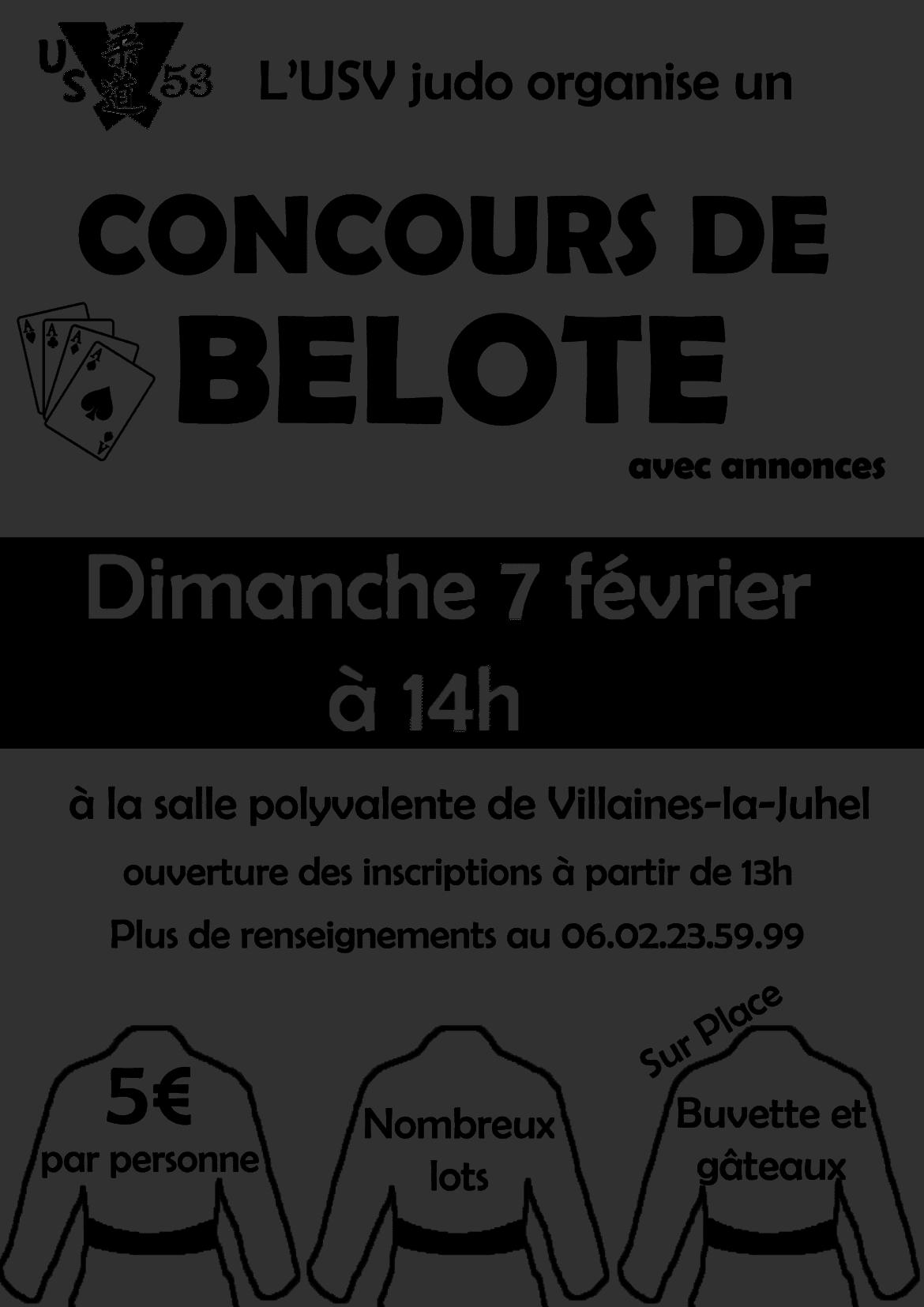 Concours de belote le 7 février 2016 à Villaines-la-Juhel (53)