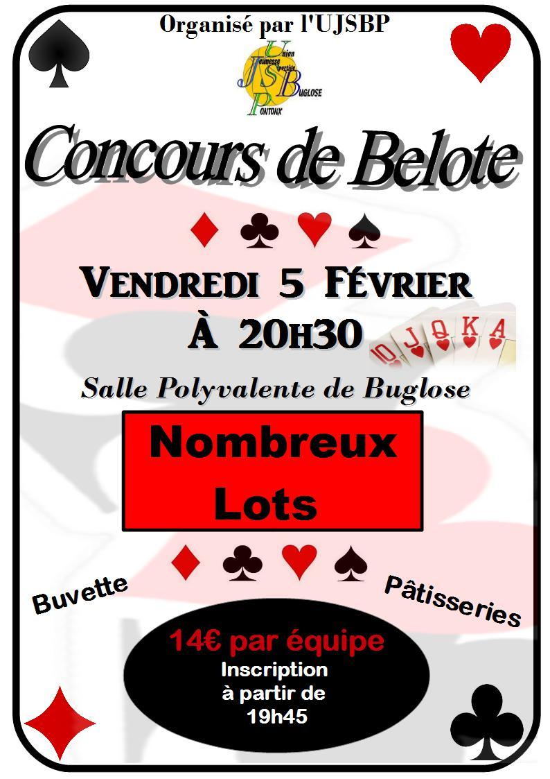 Concours de Belote vendredi 5 février 2016 à Buglose