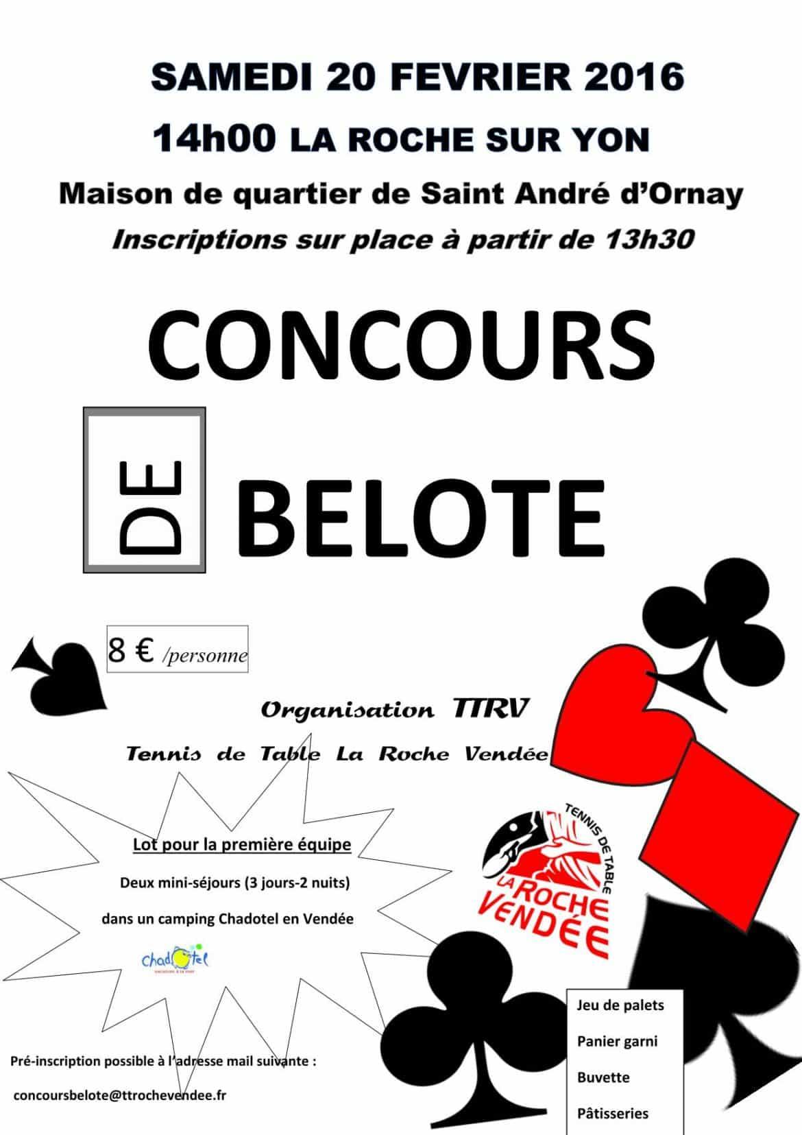 affiche du Concours belote samedi 20 février 2016 à la Roche sur Yon (85)
