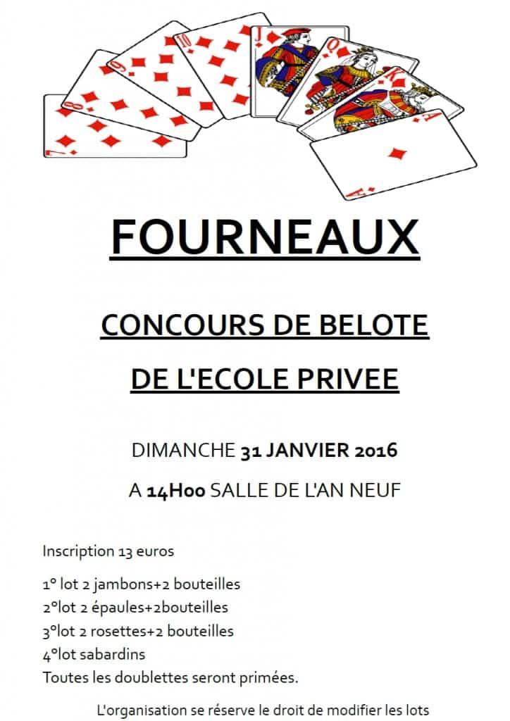Affiche du Concours de belote organisé à Fourneaux le 31 janvier 2016