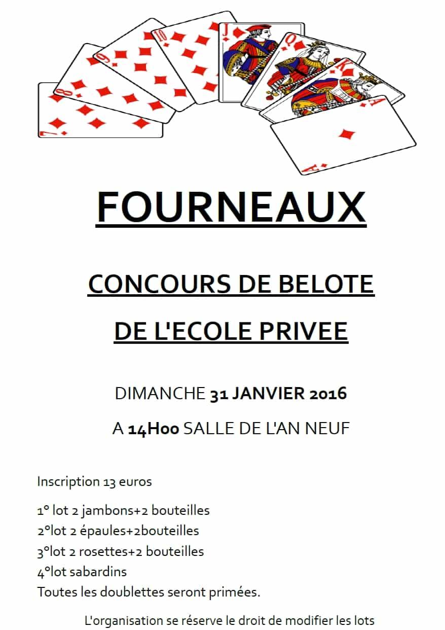 Concours de belote à Fourneaux le 31 janvier 2016