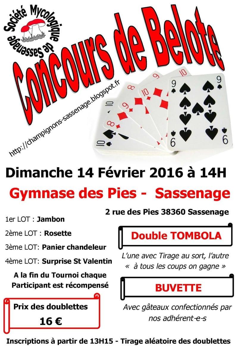 Affiche du Concours belote 14 février 2016 à Sassenage - Isère