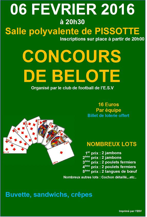 Affiche du concours de belote le Sam 6 Février 2016 à Pissotte