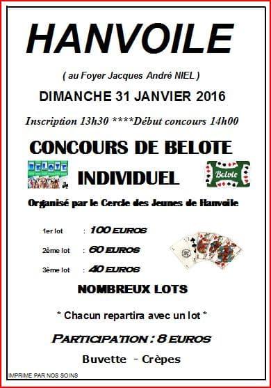 Affiche du Tournoi de belotte le 31 janvier 2016 à Hanvoile