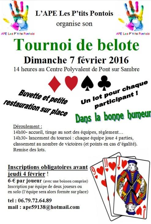 Affiche du Tournoi de belote organisé à Pont-sur-Sambre le dimanche 7 février 2016