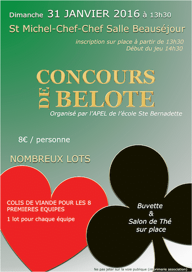 Affiche du tournoi de belote le 31 janvier 2016 à St Michel Chef Chef