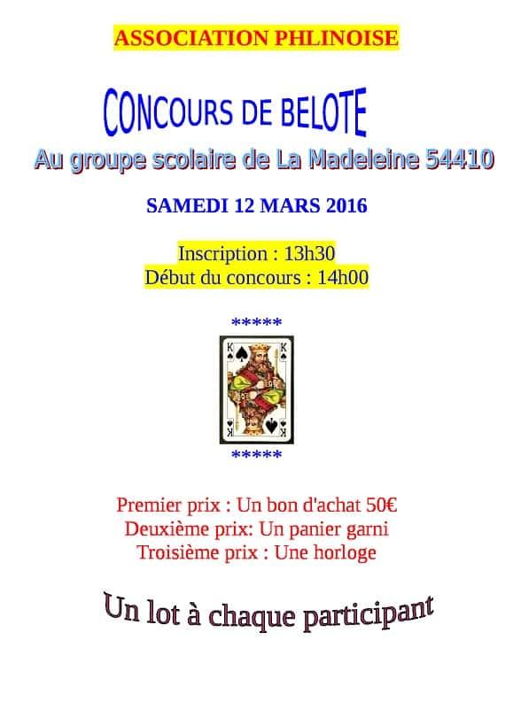 Affiche Concours de belote le 12 Mars 2016 à La Madeleine 54410
