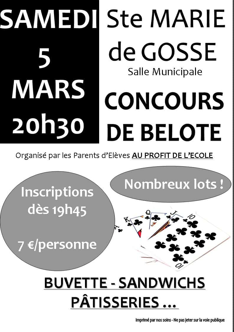 Concours de belote le samedi 5 mars 2016 à Sainte Marie de Gosse (40390)