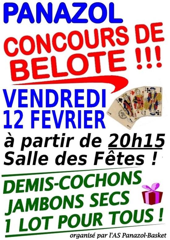 Affiche du Concours de Belote le 12 Février 2016 à Panazol (87350)