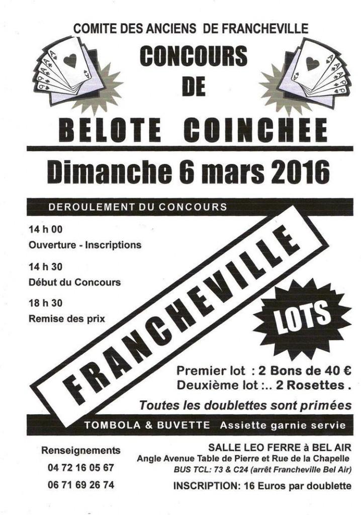 Affiche du concours de belote coinchée le 6 mars 2016 à Francheville Rhone