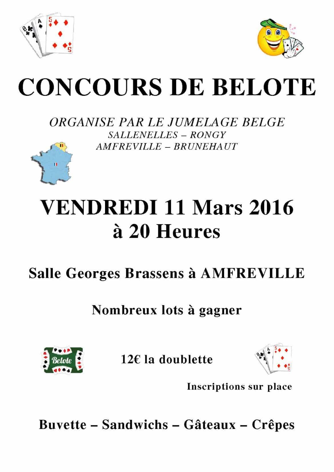 Tournoi de belote le 11 Mars 2016 à 14860 AMFREVILLE