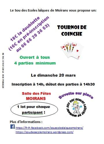 Affiche tournoi de coinche le 20 mars 2016 à Moirans (38430)