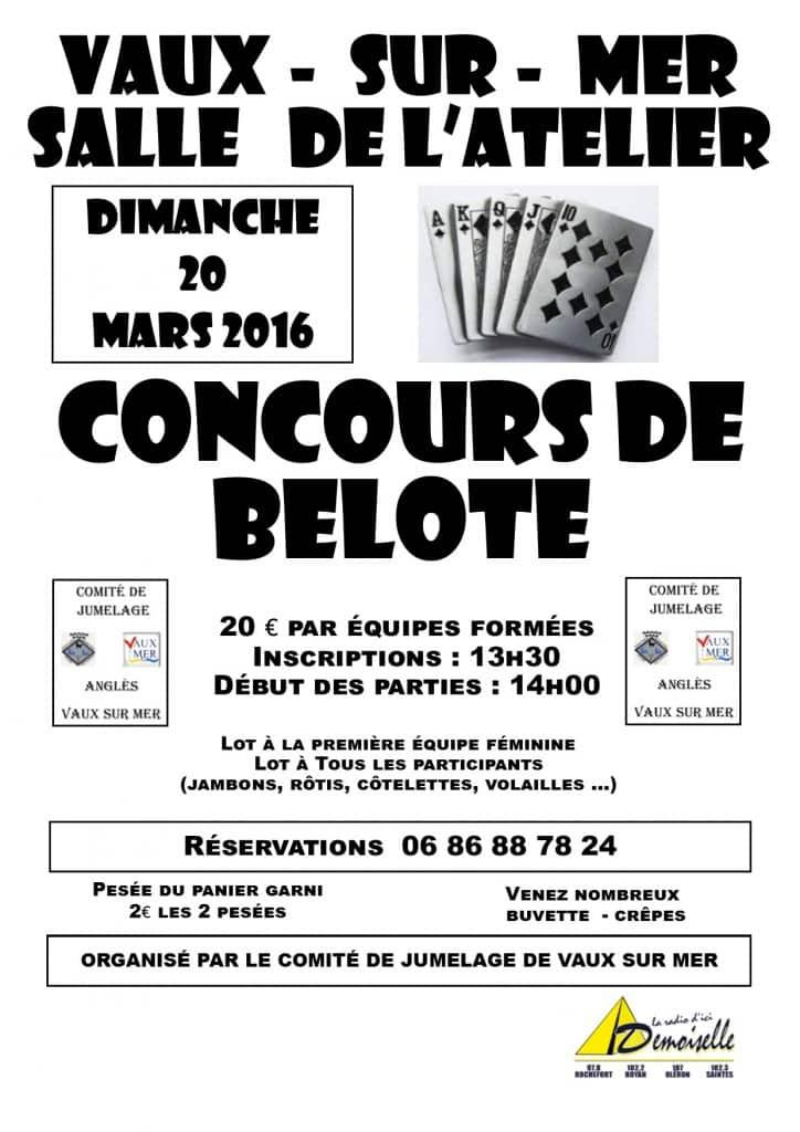 affiche Tournoi de belote le 20 Mars 2016 à Vaux sur Mer - 17