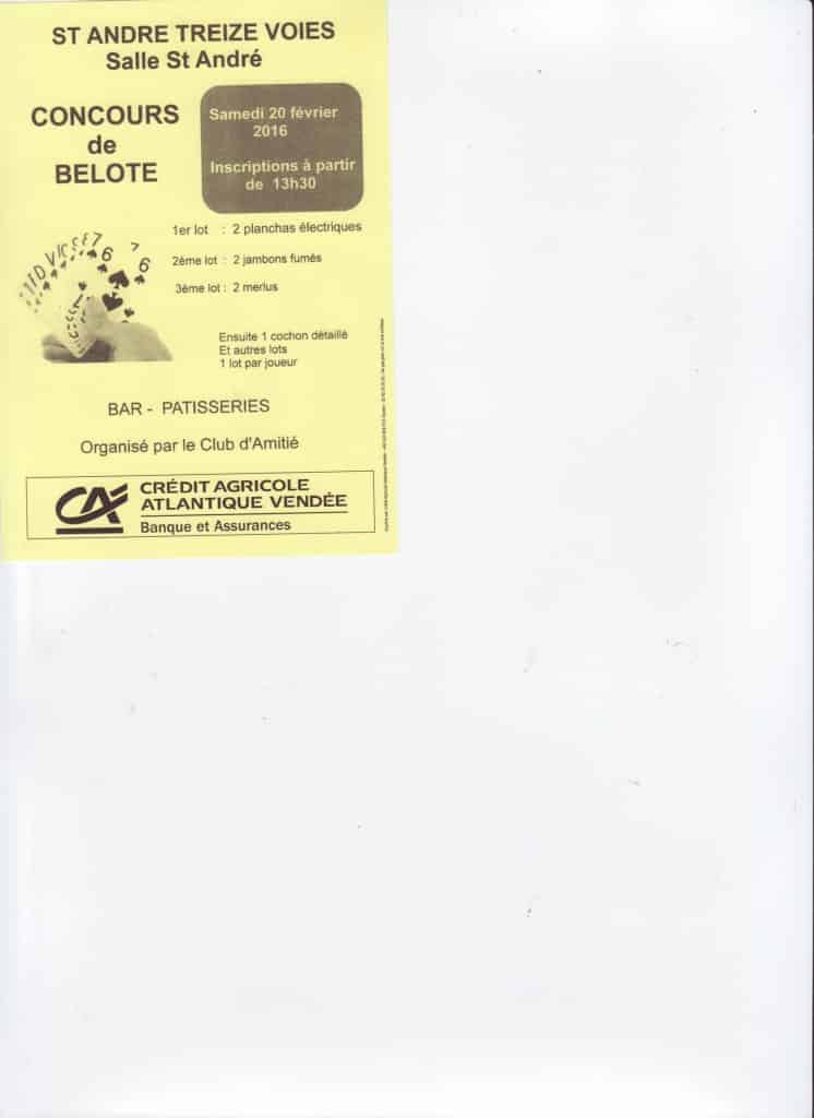 affiche Concours de Belote le 20 Février 2016 à St André Treize Voies 85