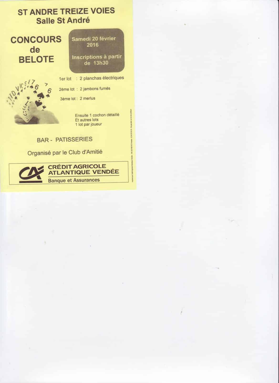 Concours de Belote le 20 Février 2016 à St André Treize Voies 85