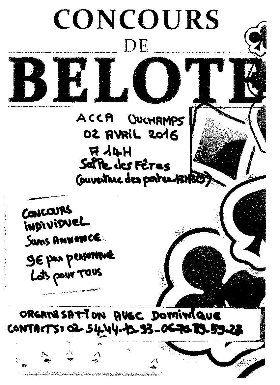 concours de belote le 2 avril 2016 à Ouchamps – Loir & Cher