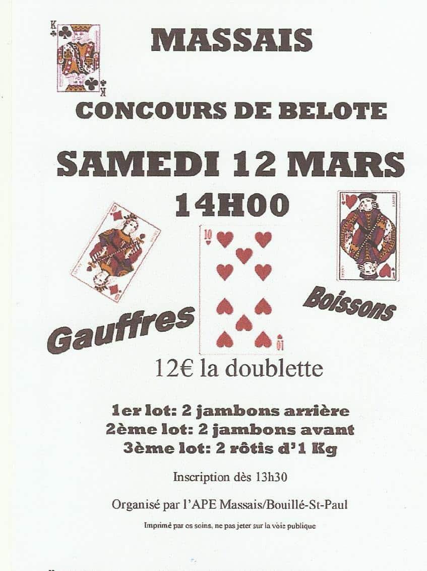 concours de belote le 12 mars 2016 à Massais – Deux Sèvres