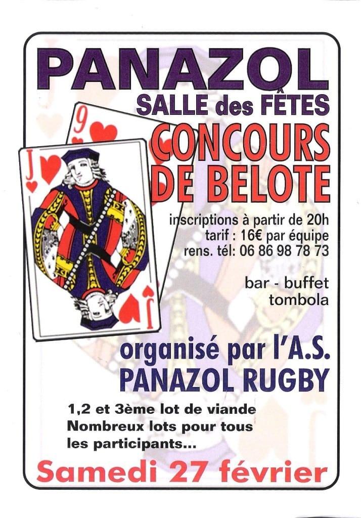 Affiche du concours de belote le 27 février 2016 à Panazol (87)