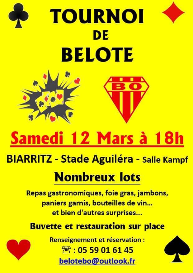 Affiche du Tournoi de Belote le 12 Mars 2016 à Biarritz - Pyrénées Atlantiques