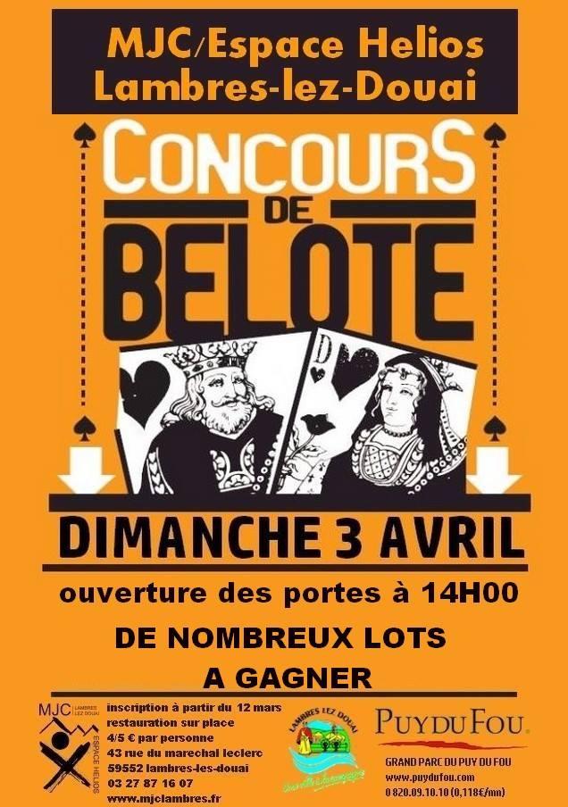 Affiche du concours de belote Dimanche 3 avril 2016 à Lambres-Lez-Douai