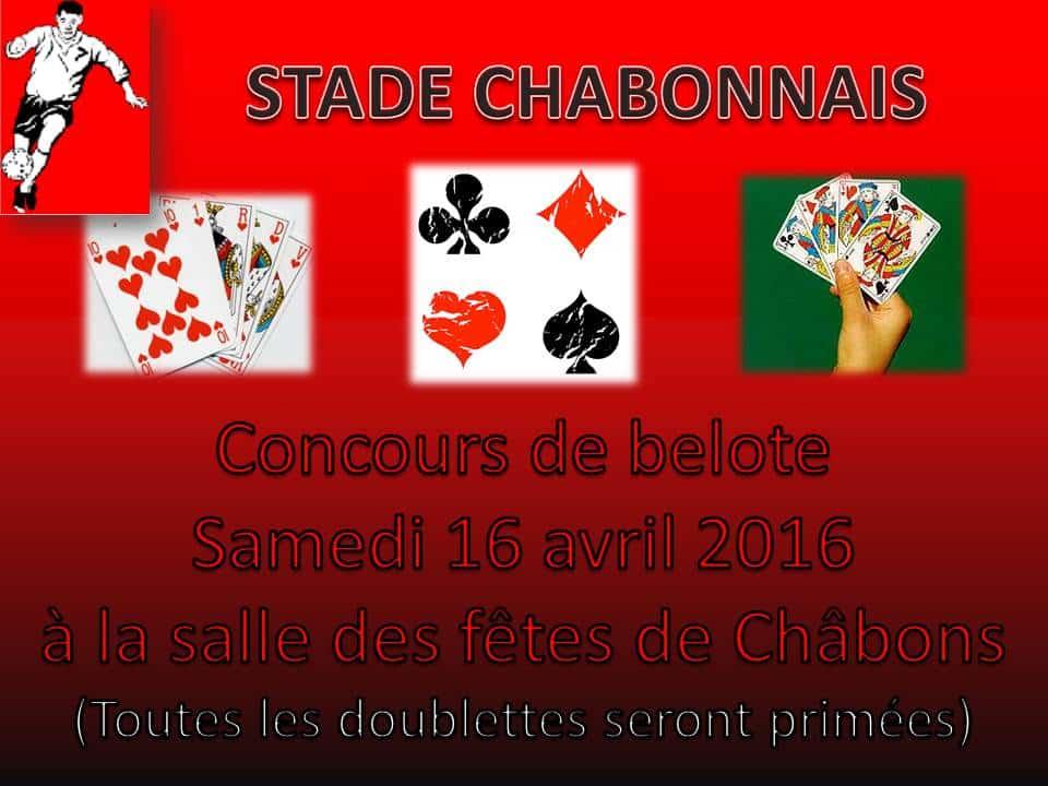 Affiche Tournoi de belote le 16 avril 2016 à Châbons (38) Isère