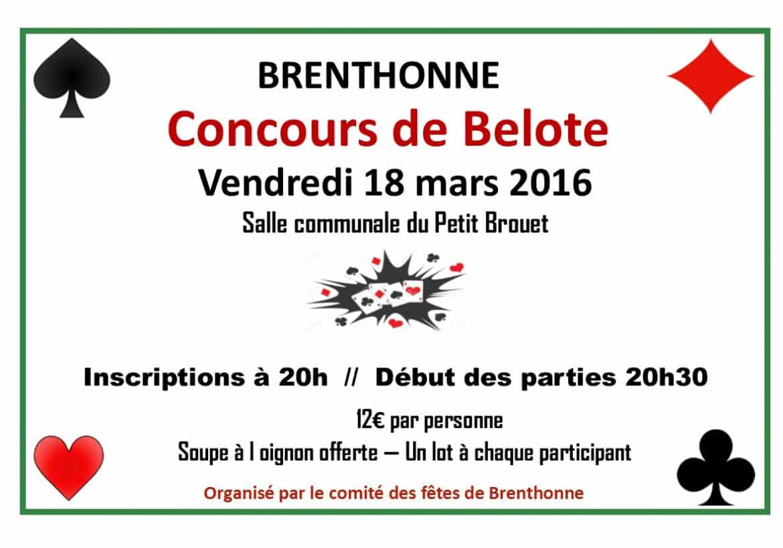 Affiche du concours de Belote vendredi 18 mars 2016 - Brenthonne (74890)